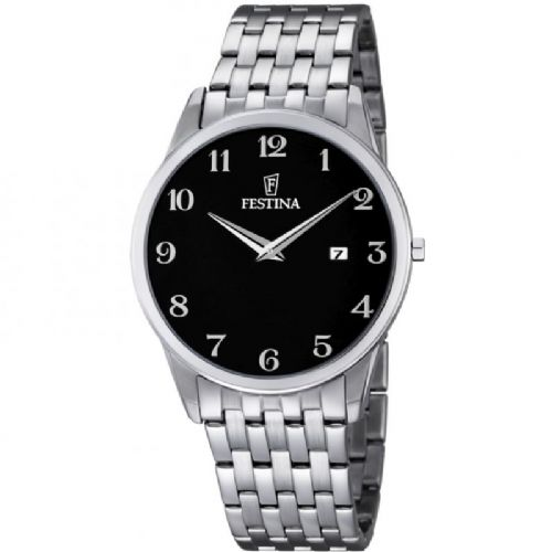 F6833/4 Festina Mens Arabic Stainless Steel Black Round Bracelet Watch